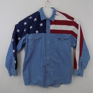 Wrangler Men's Size XL American Flag Denim Shirt